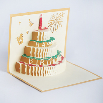Gold And Red Funny Pop Up Decorating Creative 3d Cake Happy Birthday