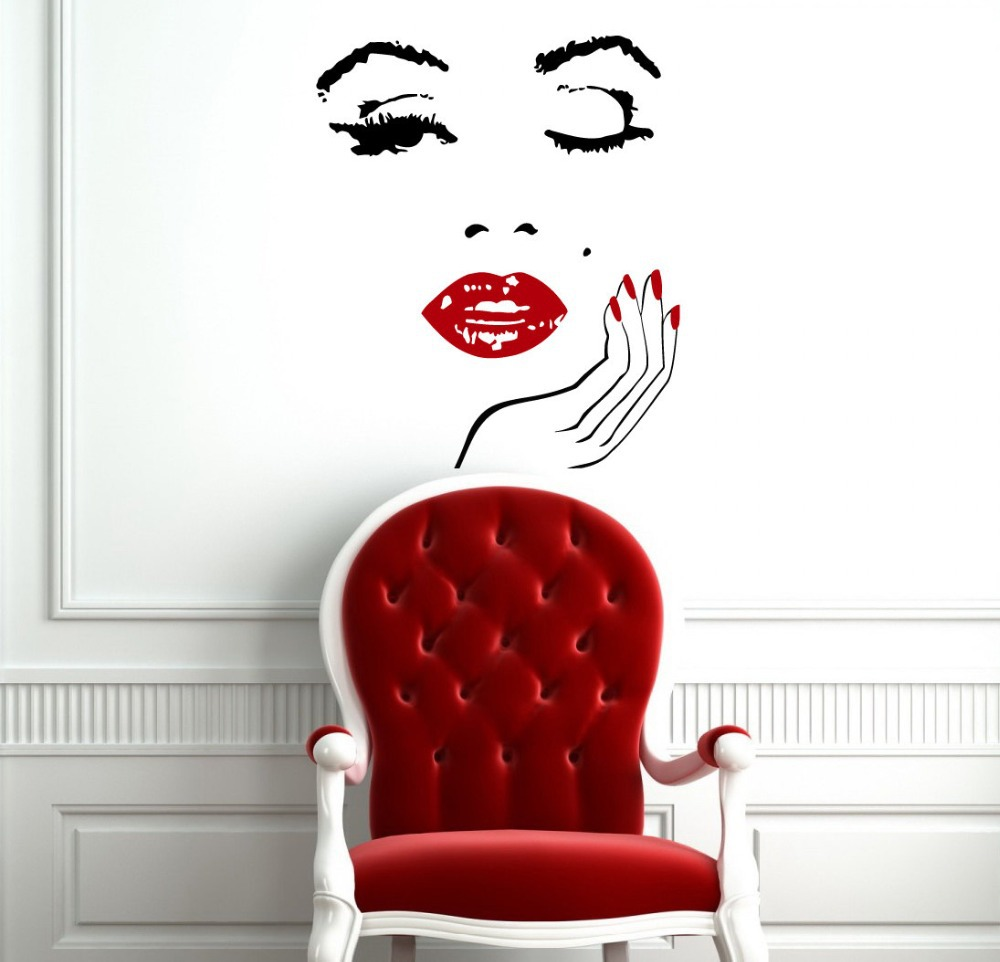 monroe wall vinyl decal interior home decor art murals sticker beauty salon girl face with hand. Black Bedroom Furniture Sets. Home Design Ideas