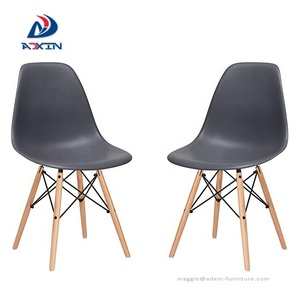 Modern solid wood legs plastic pp red dining chair