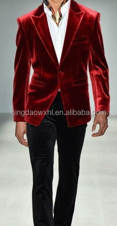 new design high class bespoke red velvet man coat glossy smooth customized men suit