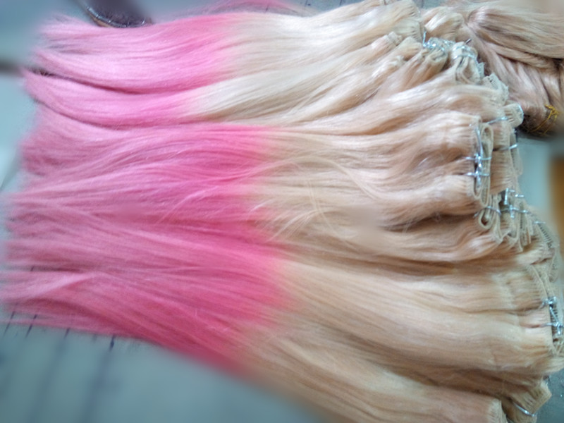 Pink Hair Ombre Color Two Tone Color Dip Dye One Piece Clip In Remy