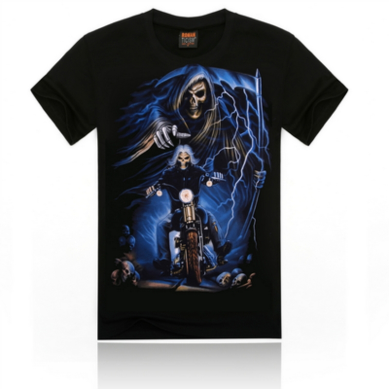 The 2015 summer men's casual comfortable T-shirts printed cotton T-shirt guitar ghost transparent shirts for men shirts for men