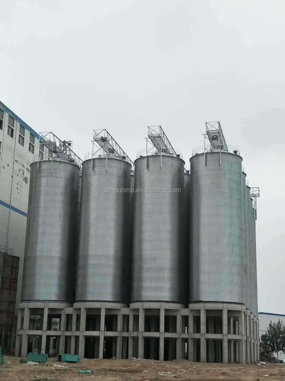Easy Operation 100T Double-side Hot Galvanized Steel Silo Plant for Paddy