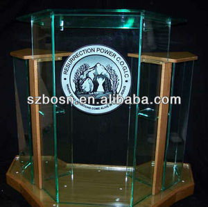 Wing Style and Glass Colored Acrylic Lectern