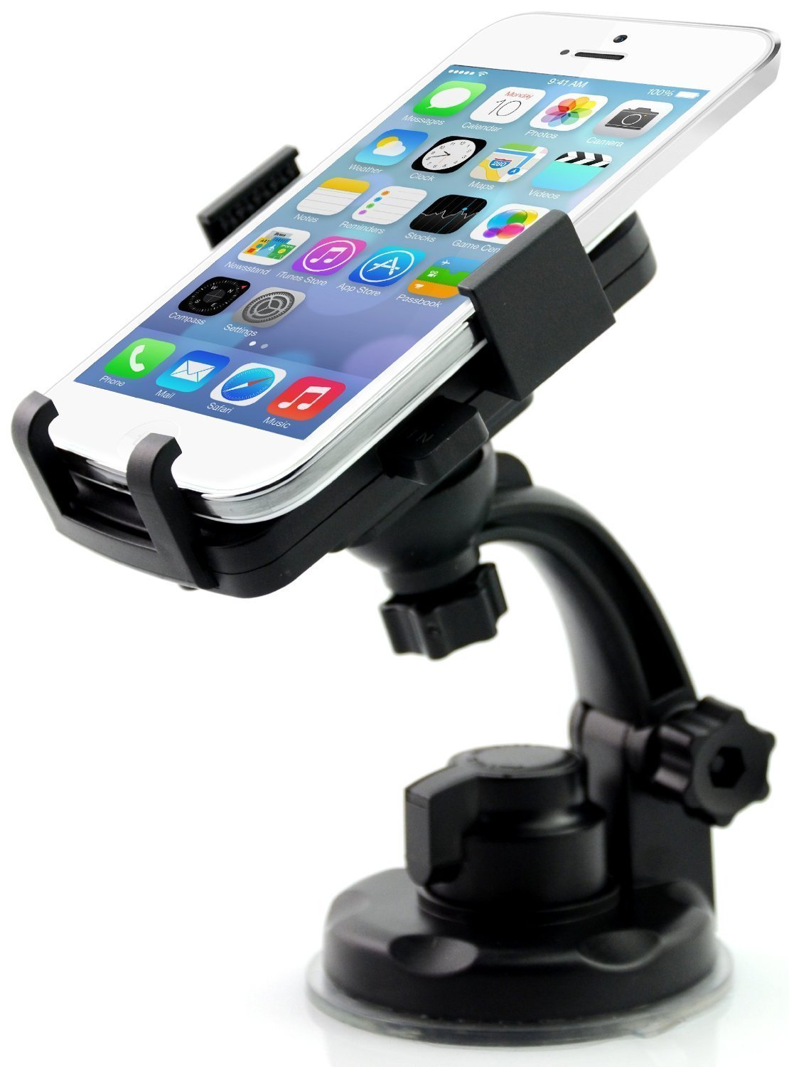 """HQF® Universal Windshield & Dashboard Car Mount Cradle Holder for iPhone 6/6Plus/5S, Galaxy Note 3/Note 2/S4/S3/S2, HTC One M8, Nexus 4/Nexus 5, BlackBerry Z10/Z30, Tablets(2.28""""-4.72"""" Extendable)-Black"""