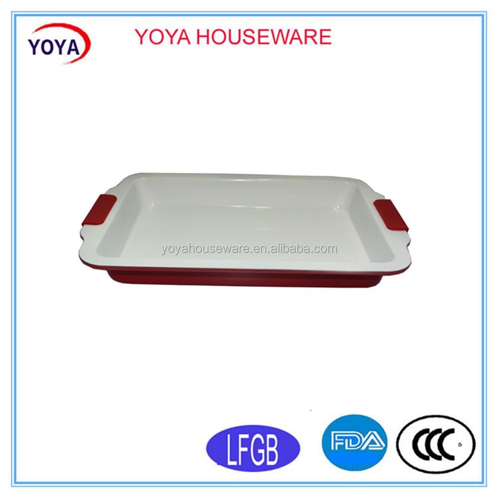 Horno cer mica recubierto ractangular hornear pan con rojo for Horno ceramica precio