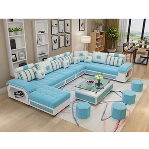 Modern Living Room Furniture Fabric Designs Sectional 7 Seater Sofa Set