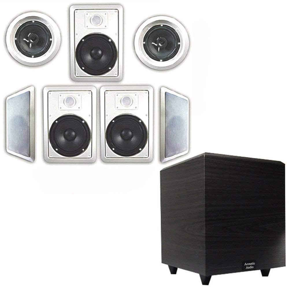 "Acoustic Audio HT-67 In-Wall/Ceiling 7.1 Home Theater 6.5"" Speakers and 8"" Powered Sub HT-67-PS8"