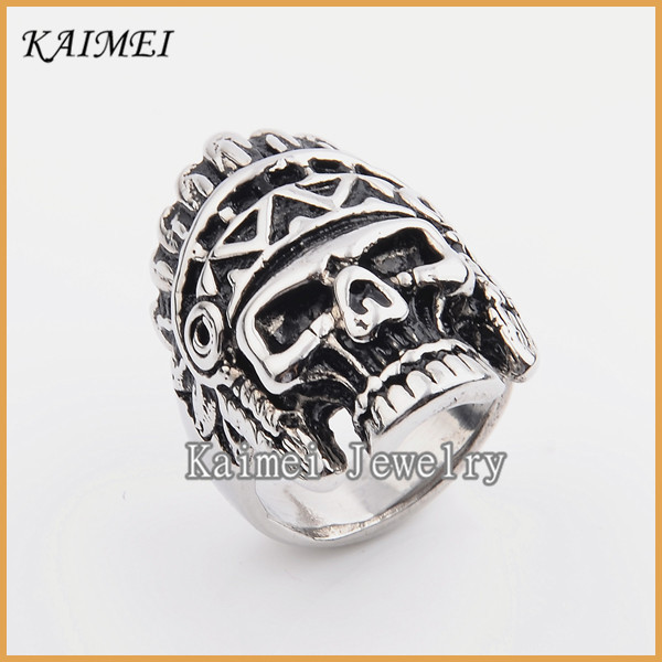 New Products 2016 Innovative Wholesale Skull Cool Boys Moroccan Silver Ring Jewelry