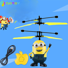 RC Helicopter Me Minions Flying Toys Induction Flying Toy Drone Remote Control Aircraft Toy With Led