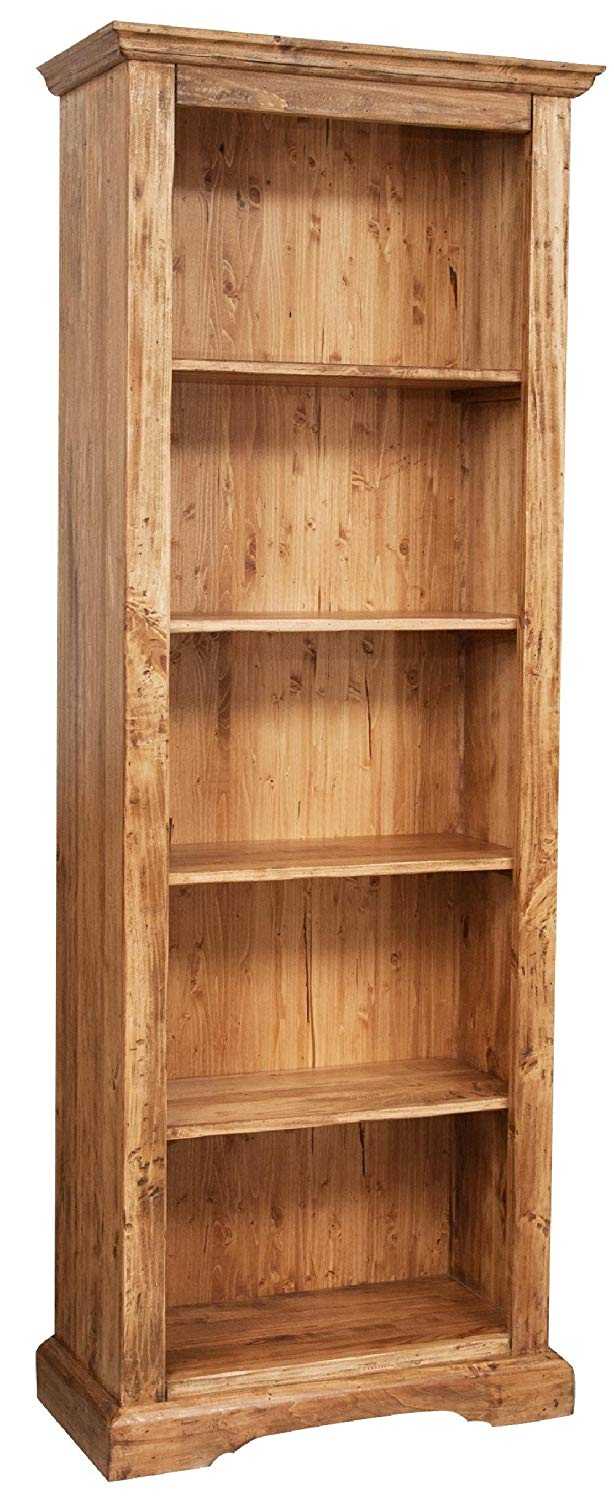 Biscottini Country-Style Solid Lime Wood Natural Finish W79XDP38XH211 cm Sized Bookcase Made in Italy