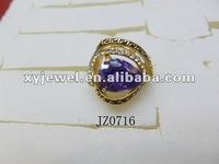 6k gold blue stone zircon ring for men