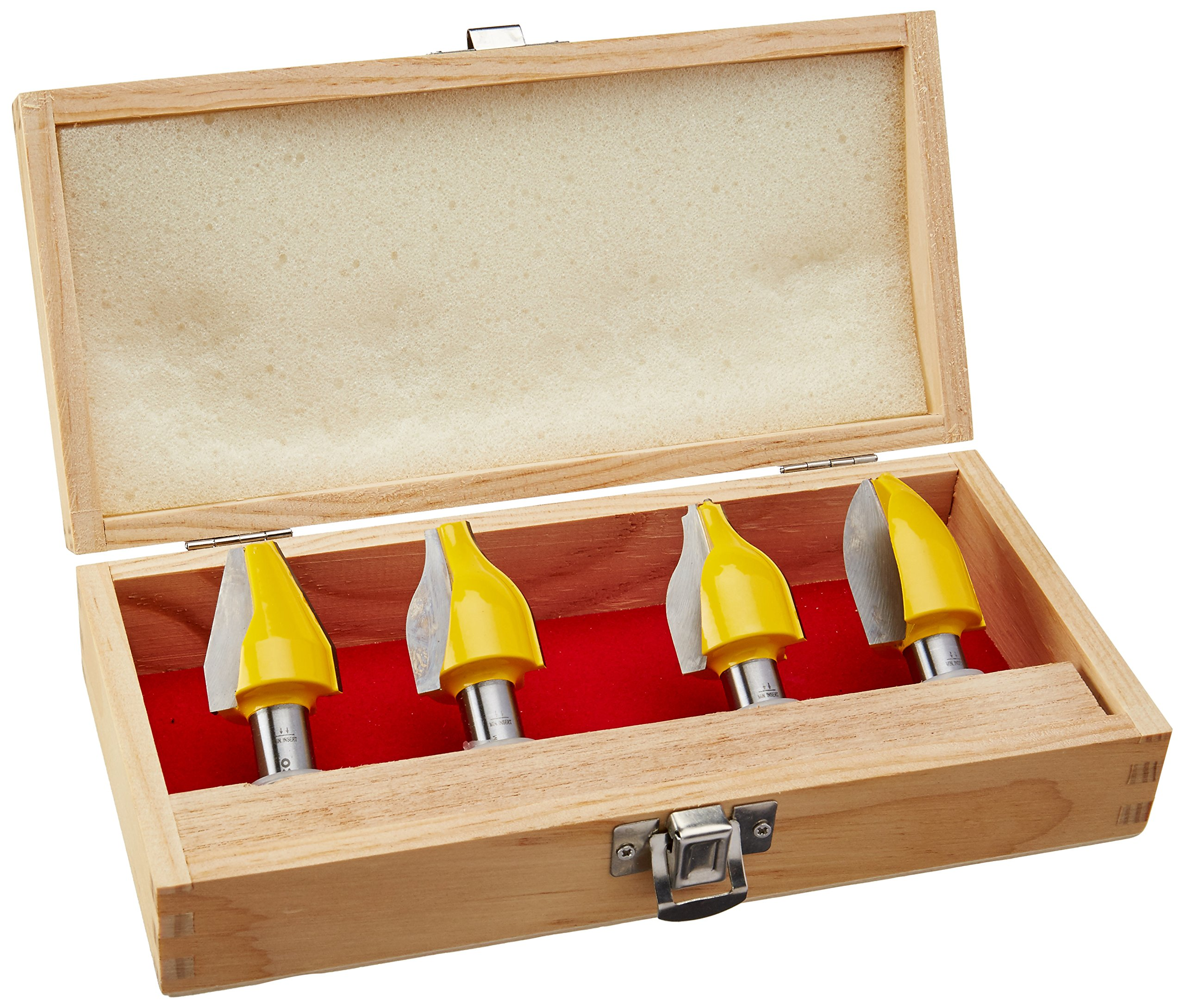 Yonico 12404 4 Bit Vertical Raised Panel Router Bit Set with 1/2-Inch Shank