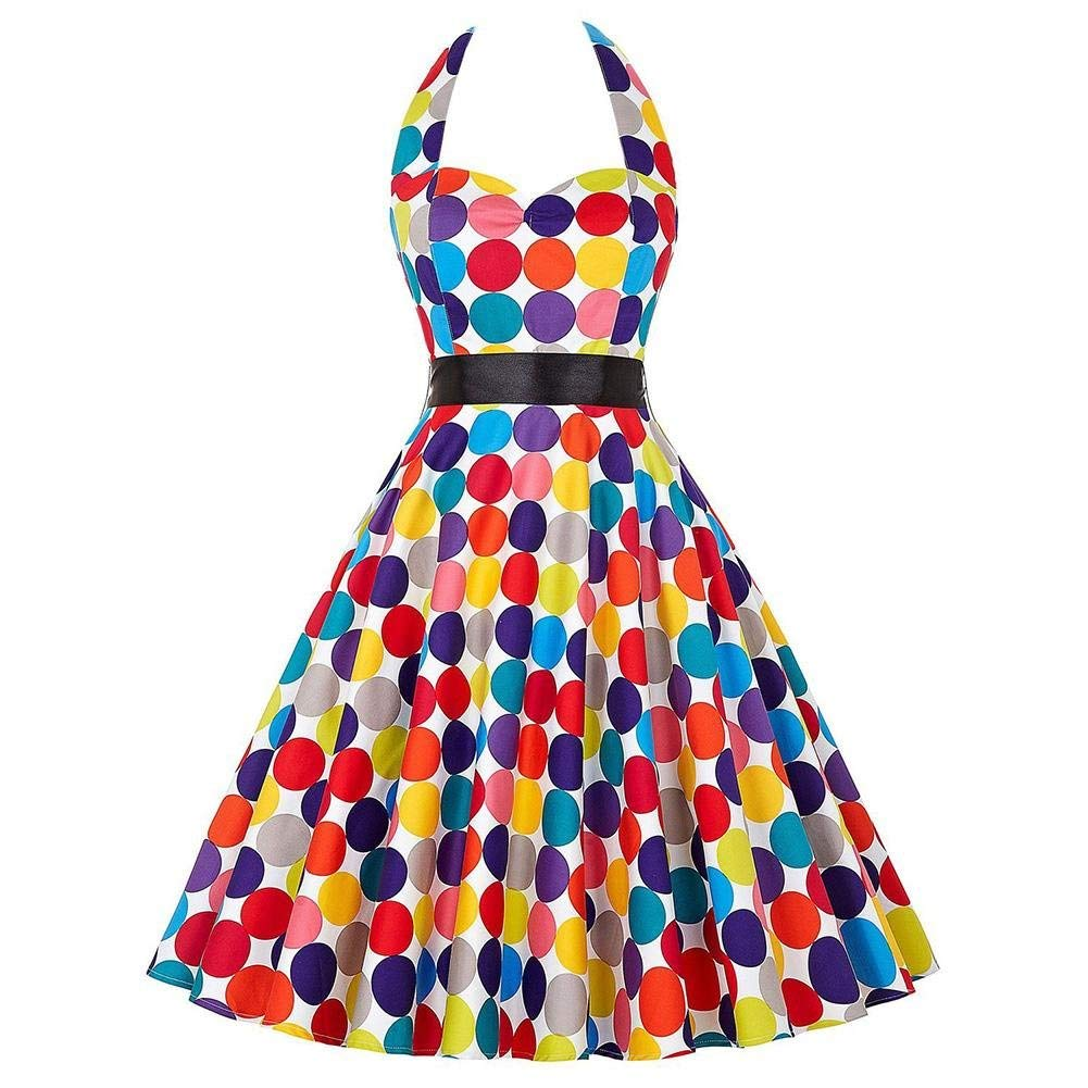 SEHNGRUHUA Shengruhua Women's Vintage 1950s Halter Color Polka Dot Print Sleeveless Evening Cocktail Party Swing Dress