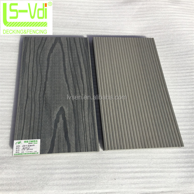 130*18mm piso wpc wood plastic composite piso cinza sólida