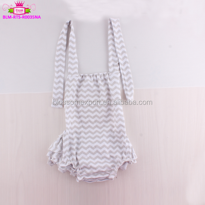 Summer Cotton Sleeveless plain Baby Girl Ruffles grey chevron infant Bubble Romper ready to ship