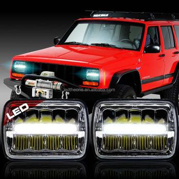 Square LED Headlight Jeep Grand Cherokee Hi/low Beam Headlights 5X7 H4/H13  Plug