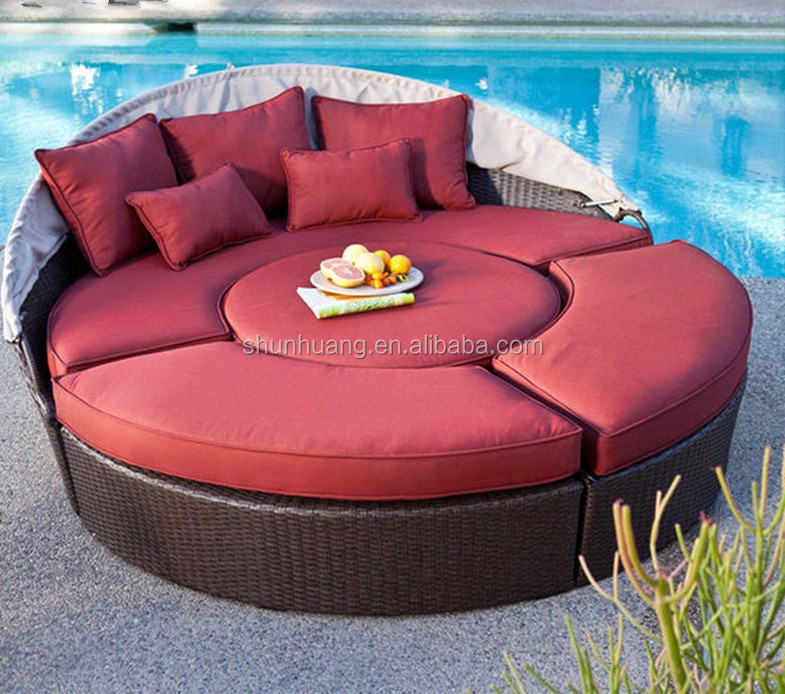Round Shape Wicker Furniture Pe Rattan Beach Day Bed With Canopy ...