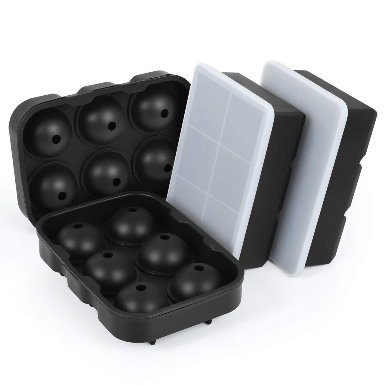 Kootek 4 Set Silicone Ice Cube Trays with Lids, BPA Free Large Square Molds and Sphere Ice Ball Maker, Easy Release Reusable Tray Flexible Mold for Chilling Whiskey Wine Cocktail Beverages Juice