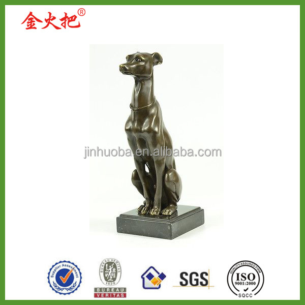 Personal decor greyhound playing bronze statue for graduation gift