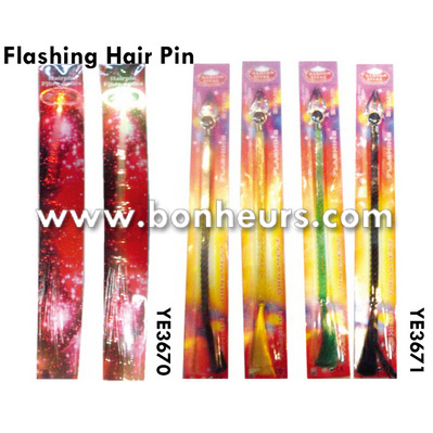 New Novelty Toy Lights Optical Fiber Pigtails Flashing Hair Pin