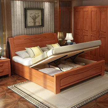 Hydraulic Storage Rubber Wood Bed   Buy Solid Wood Bed,Carved Wood  Bed,Solid Wood Storage Bed Product On Alibaba.com