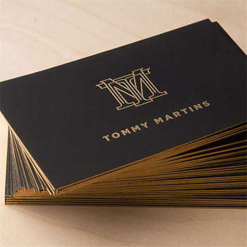 Hot Stamping 1200gsm Carte De Visite Printing Black Business Card