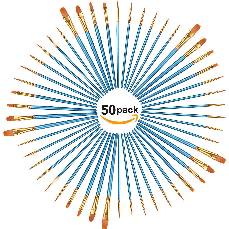 Acrylic Paint Brush Set,5 packs/50 pcs Nylon Hair Brushes for Oil Watercolor Painting Artist Professional Painting Kits