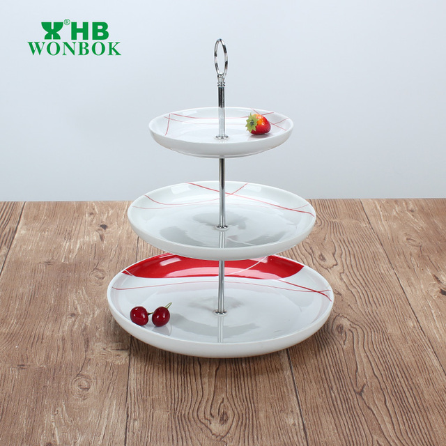 hotel use round 3 tier ceramic cake stand birthday cake plate