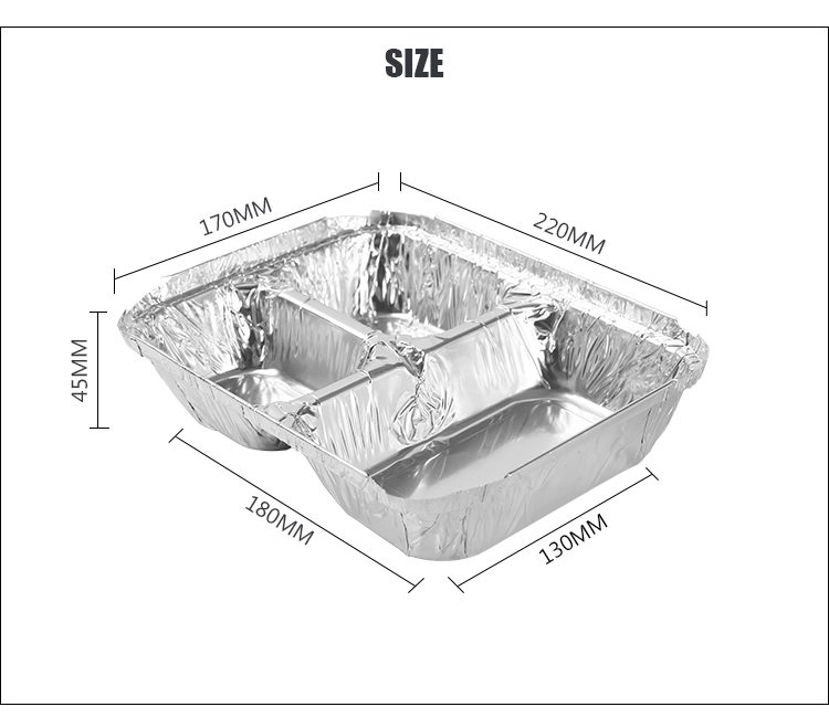 3 Section Rectangular Foil Pan with Board Lid