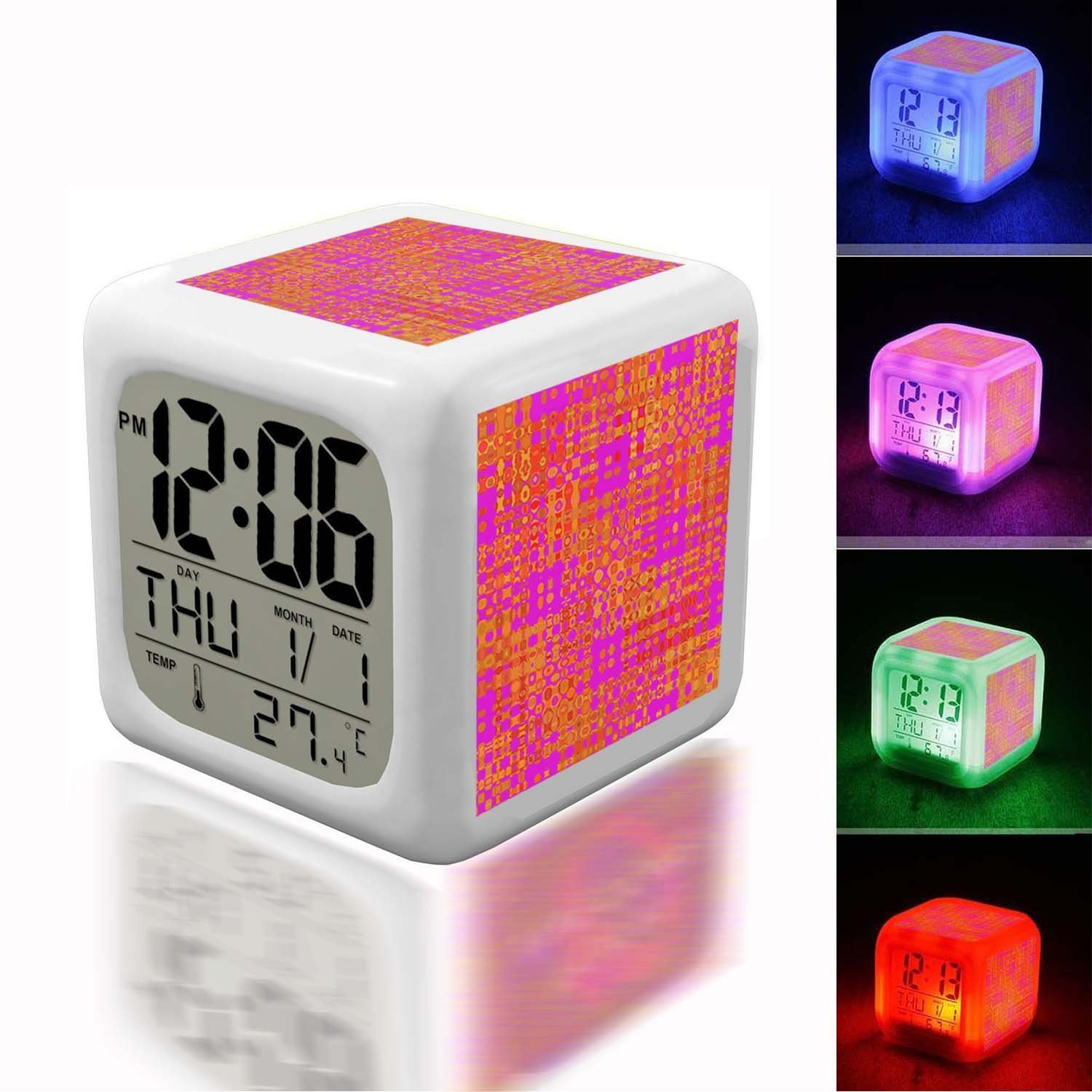 Alarm Clock 7 LED Color Changing Wake Up Bedroom with Data and Temperature Display (Changable Color) Customize the pattern-528.pink orange bright abstract background pattern