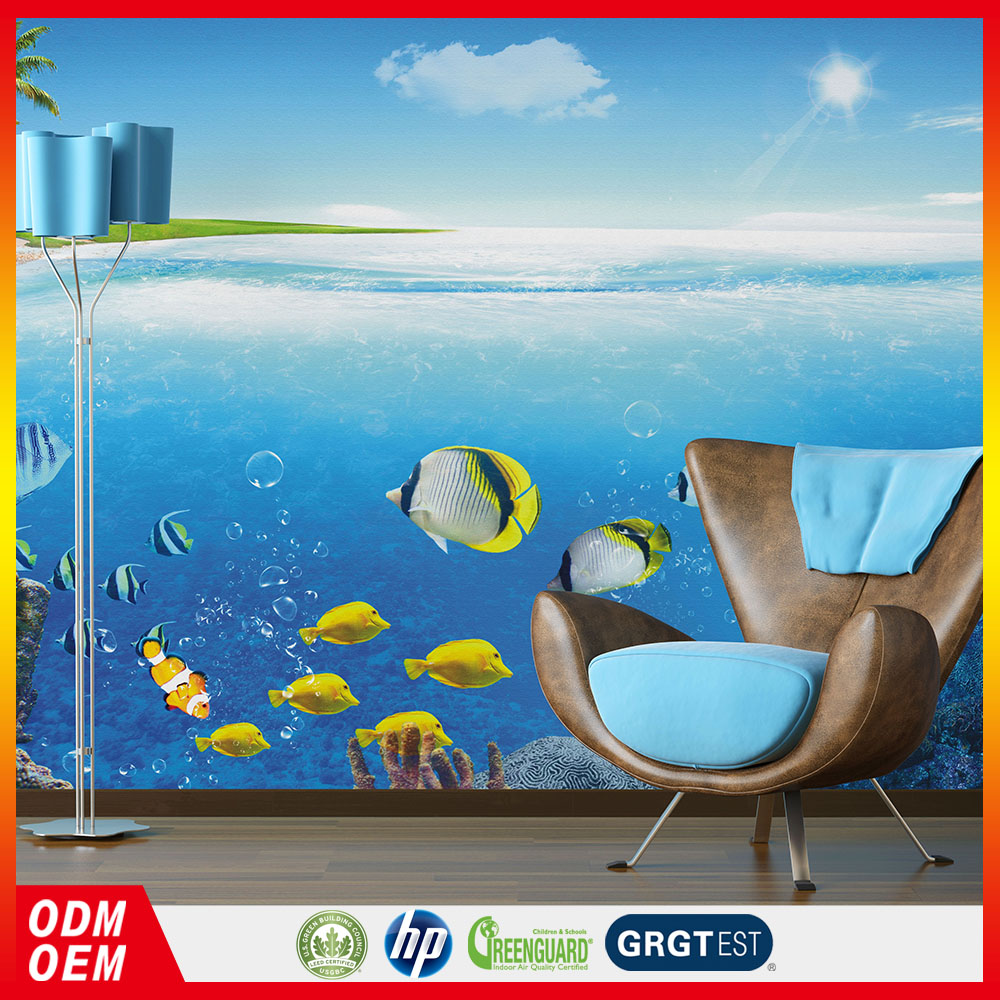 blue sea underwater fish scene Stereoscopic 3d decorative living walls wallpaper