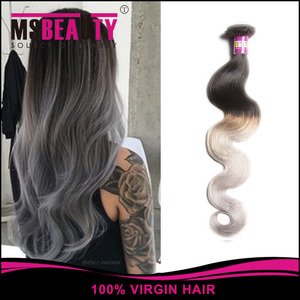 new products New Arrival brazilian straight remy hair ombre silver grey hair weaving 1b/gray two tone Brazilian Virgin drop ship