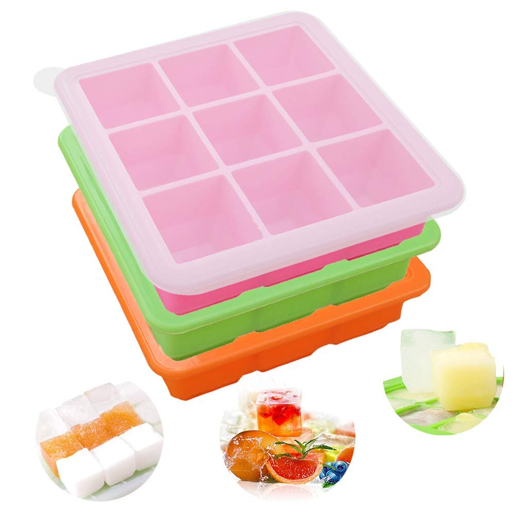 Silicone Ice Cube Trays 3 Pack - Easy Release Flexible Ice Cube Mold Trays with Removable Lid, 9 Square Cubes Stackable Ice Trays, BPA Free & Dishwasher Safe (Pink, Green, Orange)