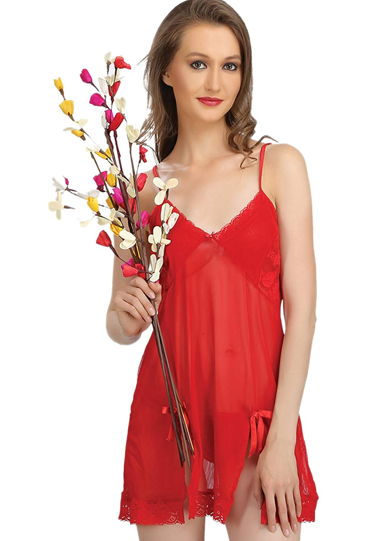 60bfce98a Get Quotations · Sona Women Maroon Net Babydoll Nightwear Lingerie Dress  with Panty