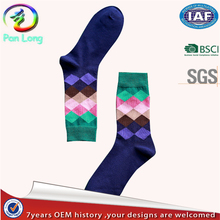 Wholesale stylish argyle design mens socks happy style from China manufacturer