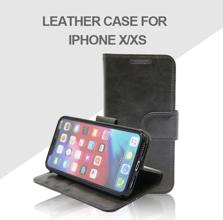 EMF stand genuine leather flip wallet anti radiation mobile phone case cover phone case custom logo diy for iPhone X XS MAX