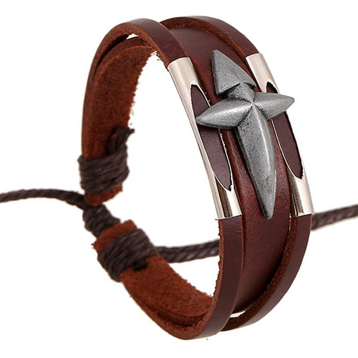 YIWU Jewelry Unisex Vintage Woven Leather Bracelet Handmade Leather Brown Braided Bracelet Leather Strap Bracelet