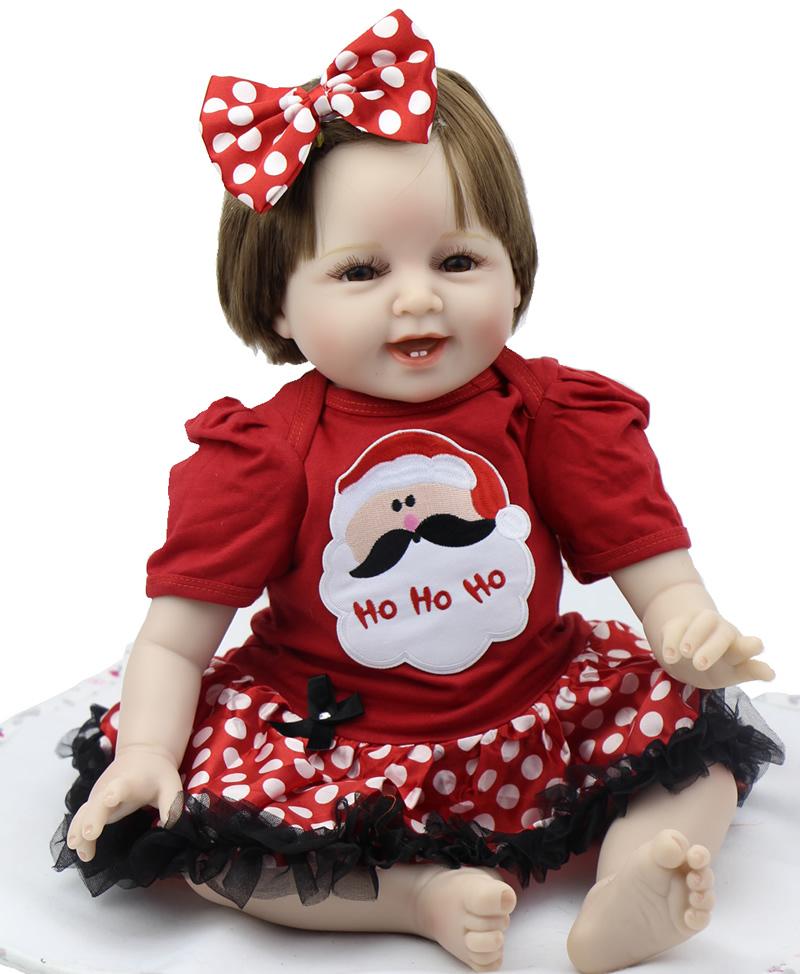 Smiling 22 Inch Baby Reborn Girl Wearing Cute Dress