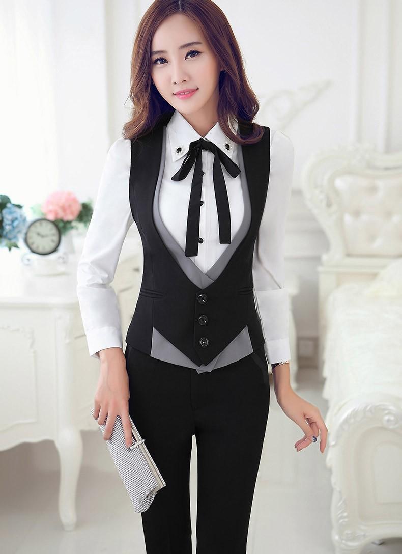 acba27bd6e Fashion Professional V-neck Slim Women Vest Coat Eleplus Size Black ...