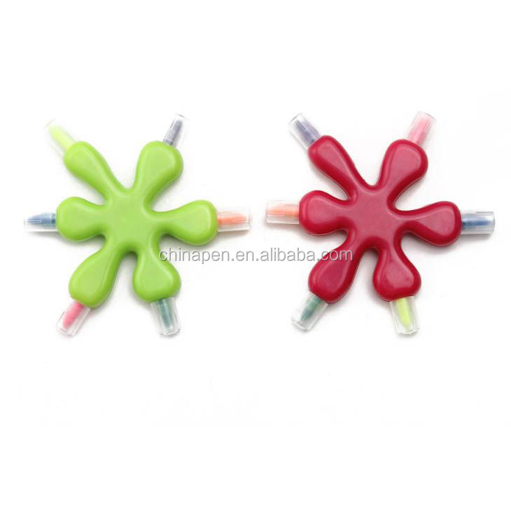 Stationery wholesale flower shaped multi color mini highlighter