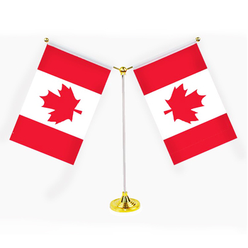 30cm steel stand both side canada table flag