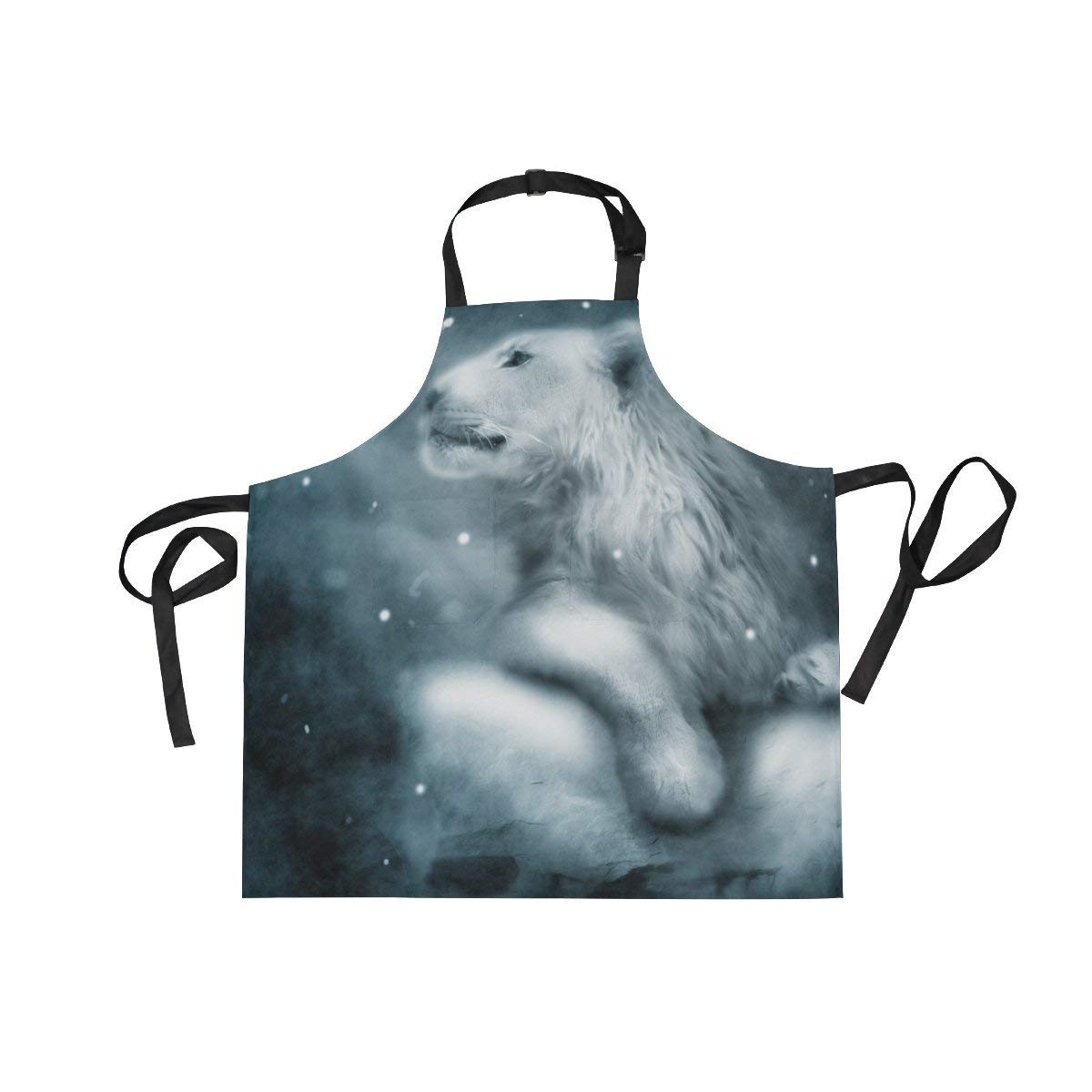 Adult Kitchen Aprons White Lion in Winter Snowfall Night Bib Apron with Pockets for Women Men Adjustable Neck Apron Cooking Baking or Kitchen Gardening Unisex Apron,Twill,Multi-Pattern