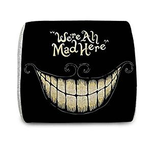 """Motolan We're All Mad Here Portable Lumbar Support Cushion Back Cushion Pillow with Memory Foam Insert, 12.4""""L x 11.8""""W x 3.9""""H"""