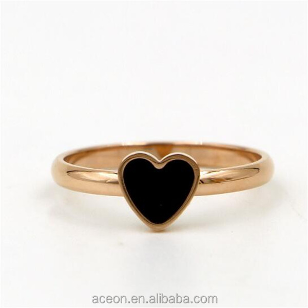 Yiwu Aceon Stainless Steel Rose Gold Black Heart Enamel Ring