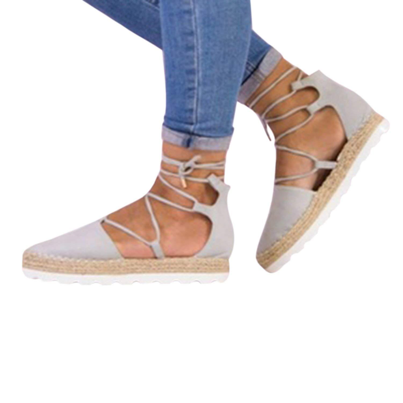 18c2708aa07 Get Quotations · Syktkmx Womens Flatform Lace Up Espadrille Platform Flat  Closed Toe Ankle Wrap Sandals