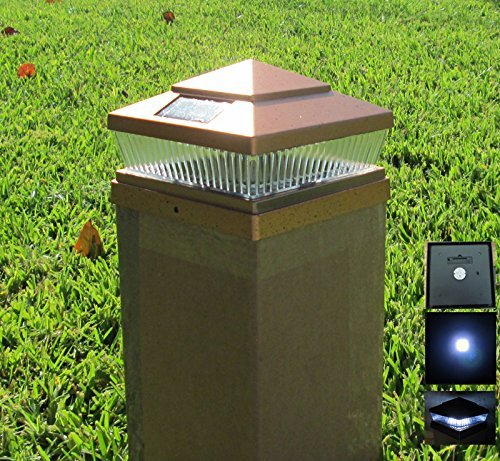 4 Pack Plastic Copper 5x5 inches Outdoor 5 LED 78Lumens Solar Post Cap Light (Designed to fit on 5x5 Hollow Vinyl/PVC/Plastic or Solid Wood/Composite Posts)