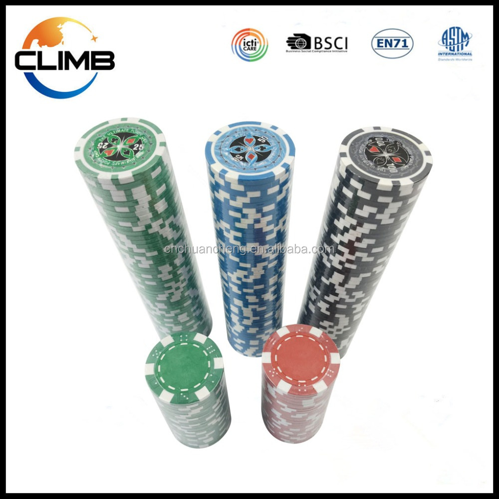 China Factory Supply 11.5g Casino premium Las Vegas sticker Poker Chips, cheap Clay Poker Chips
