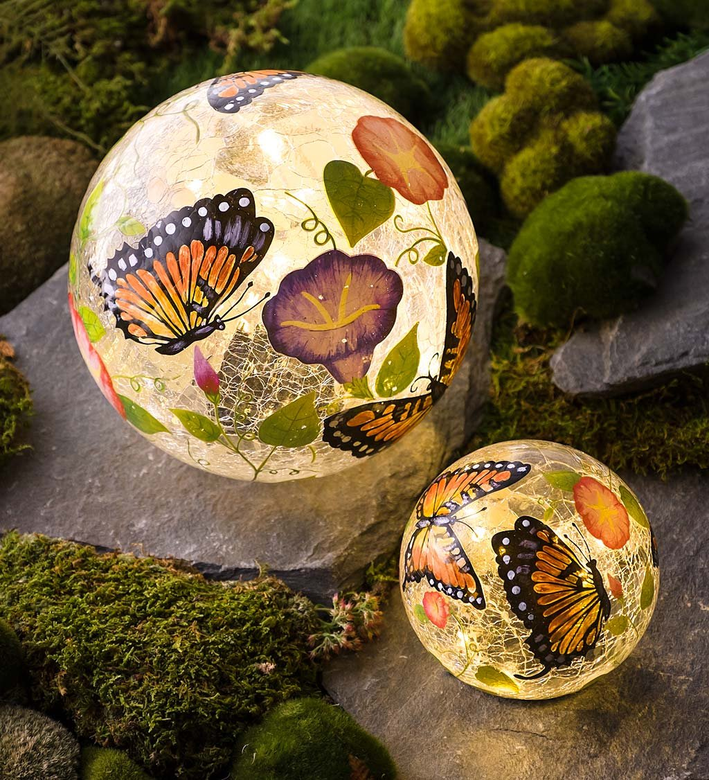 Delicieux Plow U0026 Hearth Set Of 2 Hand Painted Butterfly Crackle Glass Solar Lighted  Decorative Garden Globes
