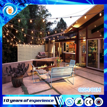 48ft 15sockets Outdoor Water Proof Commercial Patio Industrial Edison String Lights